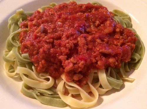 Tagliatelle with meat sauce (my style)