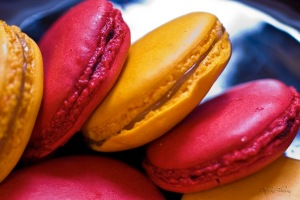 Lemon and raspberry macarons