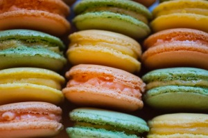 Lemon, pistachio and rose macarons