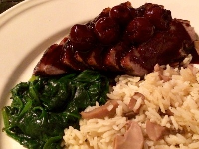 Roast duck with port wine and cherry sauce