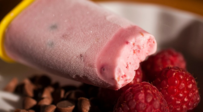 Raspberry and chocolate chip Greek yoghurt popsicles