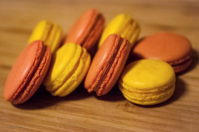 Strawberries 'n' cream macarons and peach-mango macarons