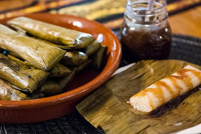 Suman with coconut caramel sauce