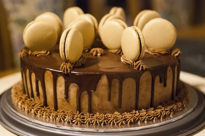 Mocha-chocolate cake with macarons